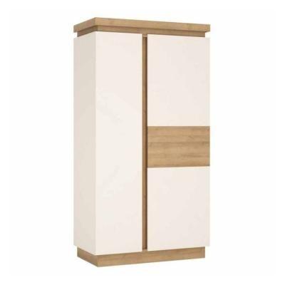 Kétajtós szekrény polccal és akasztós résszel, fehér-tölgy - ARIZONA